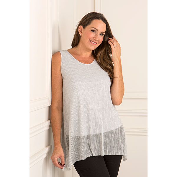 Reflections Pleat Layered Shell Cami Silver