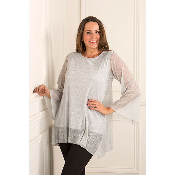 Reflections Pleat Layered Tunic Top Silver