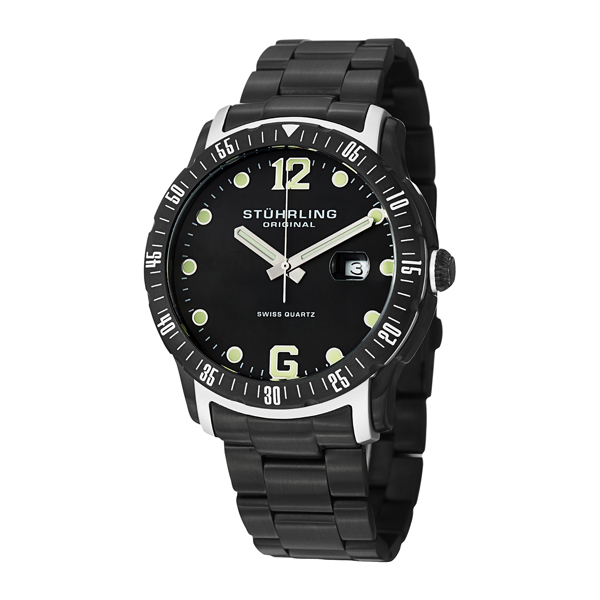 Stuhrling Gents Trofeo Watch with PVD Stainless Steel Strap Black/White