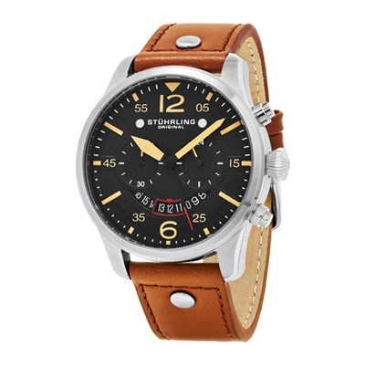 Stuhrling Gents Chronograph Watch with Genuine Leather Strap
