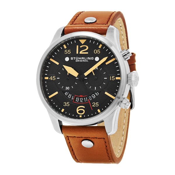 Stuhrling Gents Chronograph Watch with Genuine Leather Strap Brown