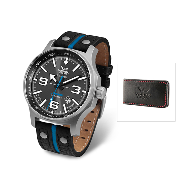 Vostok Europe Gents Expedition North Pole Watch with Three Interchangeable Straps and FREE Money Clip Black