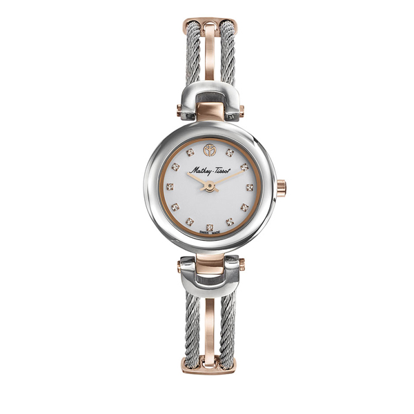 Mathey-Tissot Ladies Manhattan Watch with a Two Tone Rose Gold Bangle Watch Rose Gold