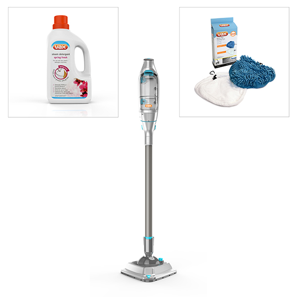 Vax Steam Fresh S85-SF-R Steam Cleaner with Vax Steam Pads (4 Pack) and Vax Spring Fresh Detergent No Colour