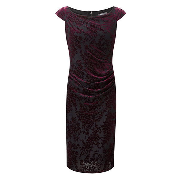 Lavitta Blossom Devore Cap Sleeve Dress 41in Claret