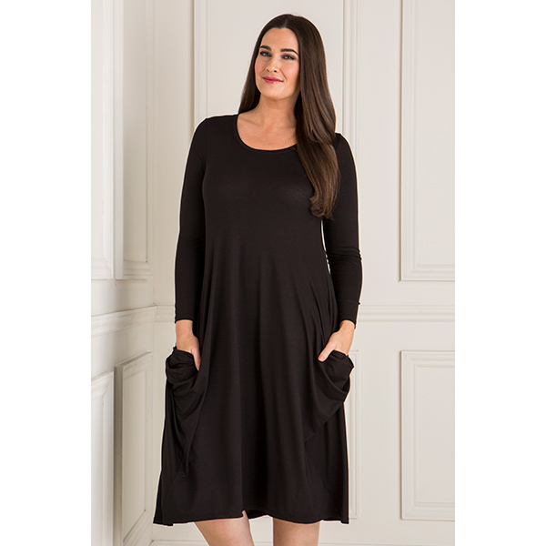 Emelia Side Drape Pocket Dress Black