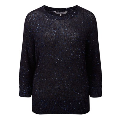 Lavitta Sequin Yarn Batwing Jumper 24.5in