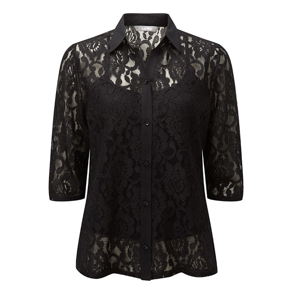 Lavitta Lace Blouse With Cami 25.5in Black