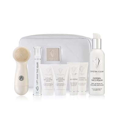 Crystal Clear Ionic Sonic Cleanse Kit with White Bag Plus Lift Away The Years Wand and Serum Kit with Extra Serum