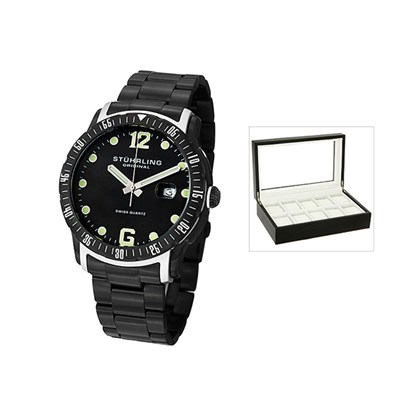 Stuhrling Gents Trofeo Watch with PVD Stainless Steel Strap with FREE 10 Slot Box