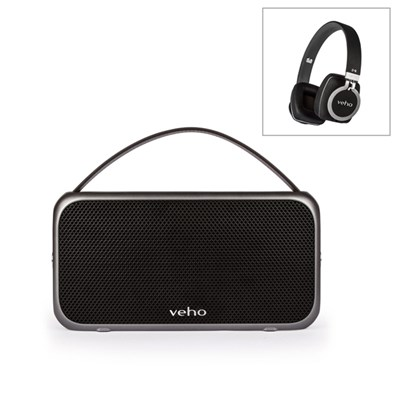 Veho M7 Mode Retro Water Resistant Speaker with Veho Z-8 On-Ear Wired Headphones