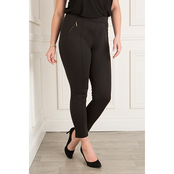 Sugar Crisp Zip Detail Trouser Black