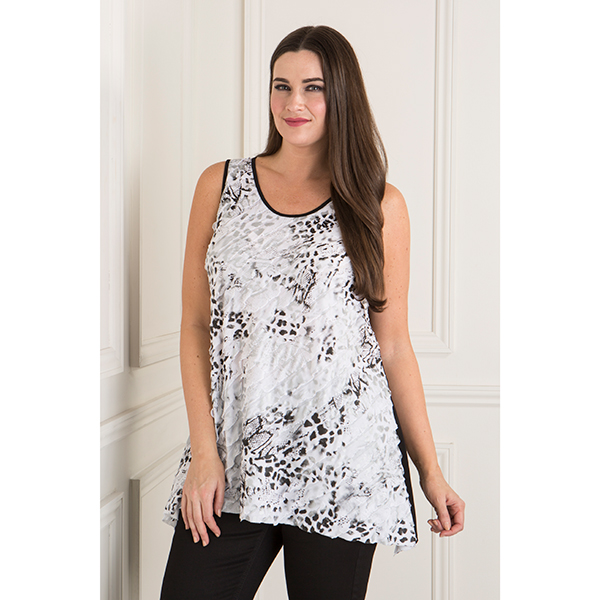 Reflections Frill Detail Sleeveless Top Snow Leopard