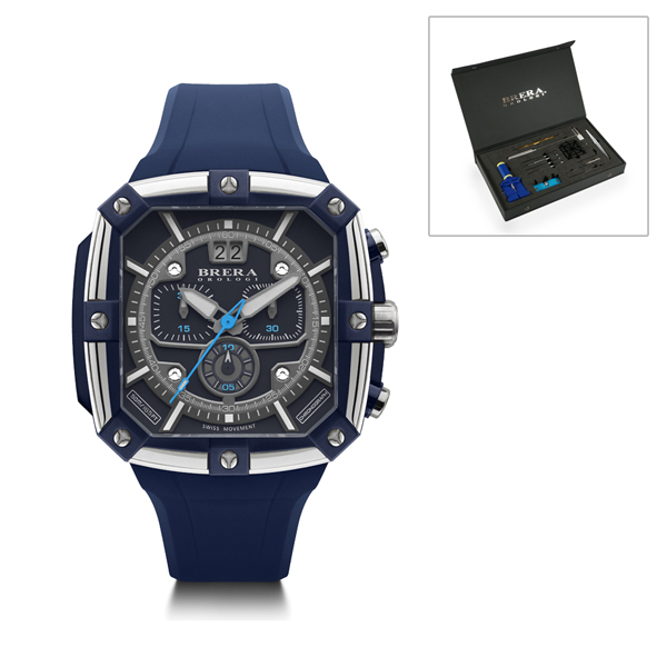 Brera Orologi Gents Supersportivo Square Watch with Silicone Strap and FREE Watch Tool Kit Blue