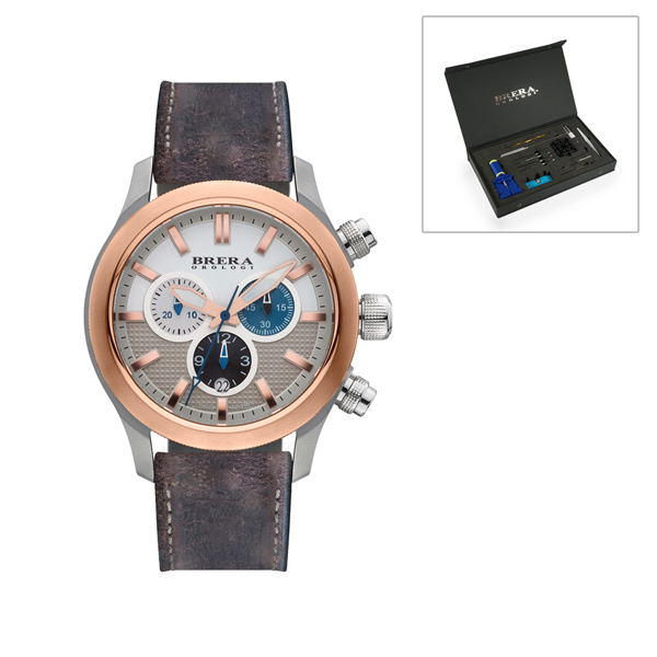 Brera Orologi Gents Eterno Chrongraph Watch with Leather Strap and FREE Watch Tool Kit Silver