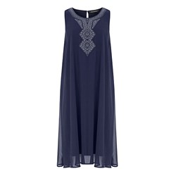 Bonmarche Sleeveless Embroidered Neck Detail Dress 39in