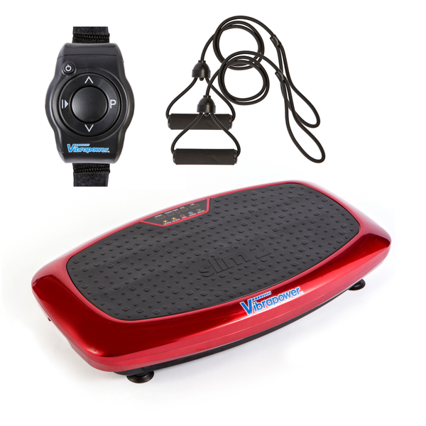 Vibrapower Slim 2 with Resistance Bands with Remote Control Watch Red