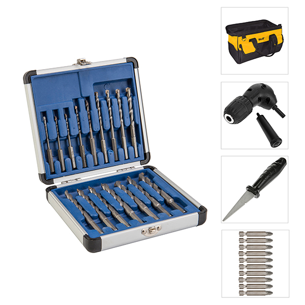 16pc Drill All Drill Bit Set, 10pc Diamond Tipped Screwdriver Bits, Right Angle Drill Attachment, Diamond File and FREE Tool Bag 389168