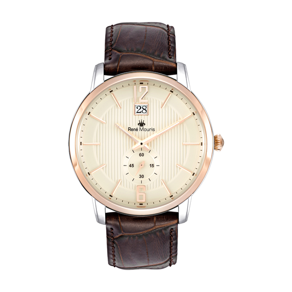 Rene Mouris Gents Executive Quartz with Genuine Leather Strap Champagne