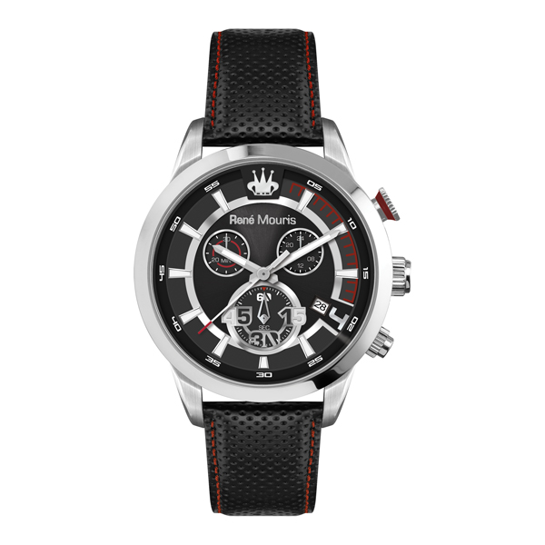 Rene Mouris Gents Vitesse Chronograph with Genuine Leather Strap Black/Silver