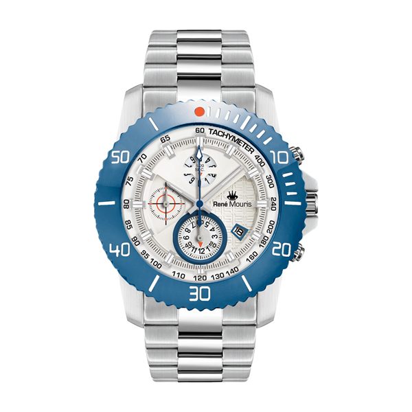 Rene Mouris Gents L.I.F.L. Chronograph with Stainless steel Strap Silver/Blue
