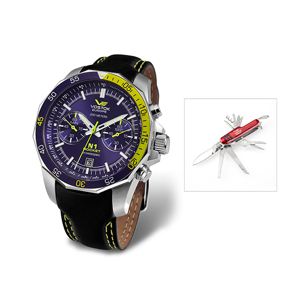Vostok Gents N1 Rocket Miyota Quartz Chronograph Watch with Genuine Leather Strap and FREE Multi-Tool Penknife No Colour