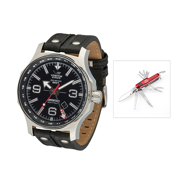 Vostok Europe Gents Dual Time Expedition N1 with leather Strap and FREE Multi-Tool Penknife Black