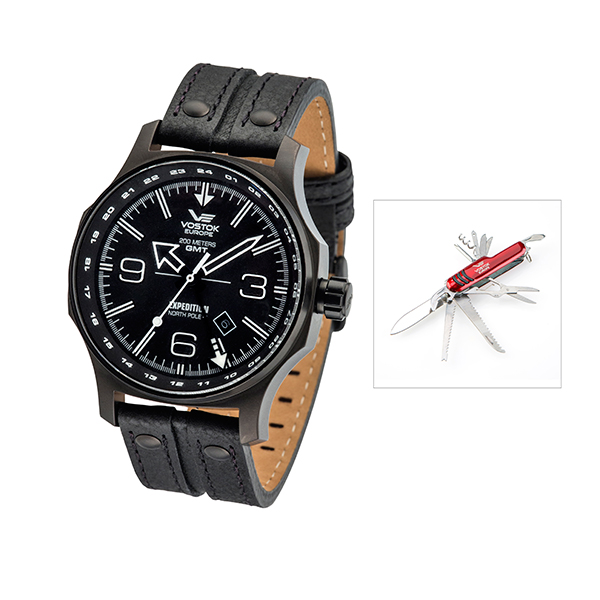 Vostok Europe Gents Dual Time Expedition N1 with PVD Stainless Steel Case, Leather Strap and FREE Multi-Tool Penknife Black