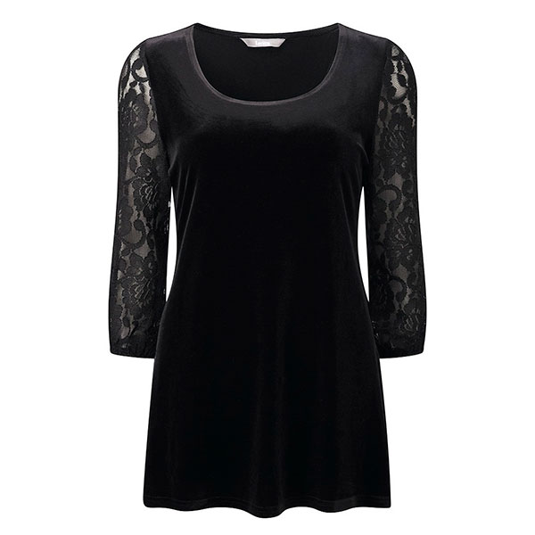 Lavitta Velour Tunic With Lace Sleeve 29.5in Black
