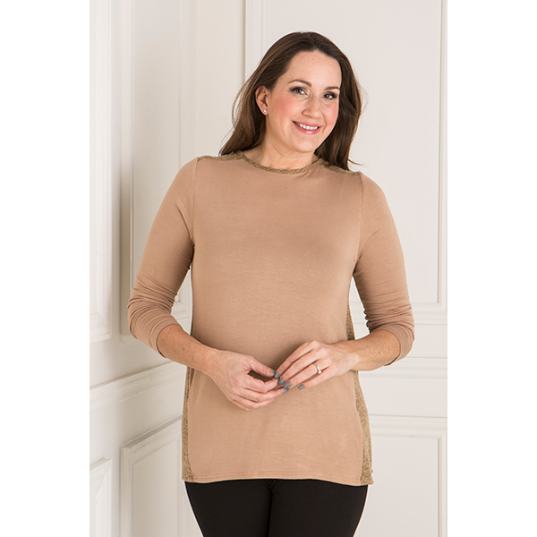 Nicole Mixed Fabric Top Camel
