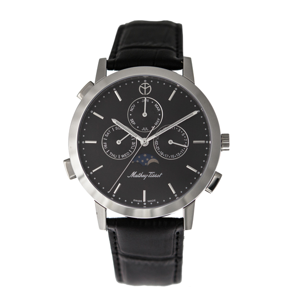 Mathey-Tissot Gents Classic Moon with Genuine Leather Strap Black