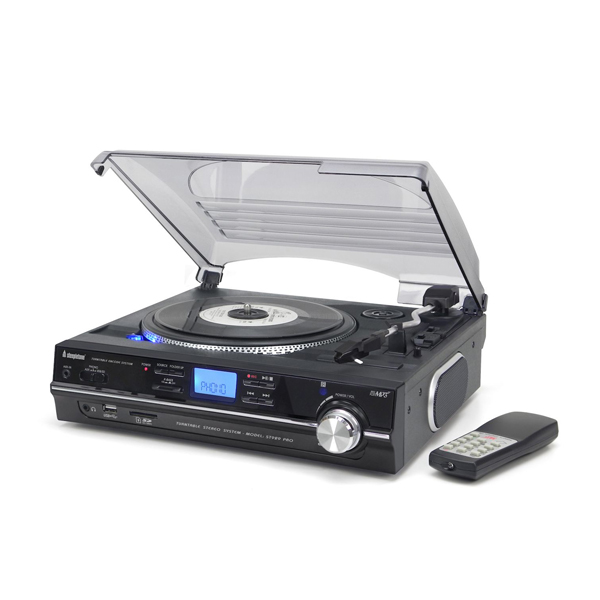 Steepletone ST929 PRO Record Player 3 Speed with MP3/ USB/ SD Recording plus 2GB SD card Black