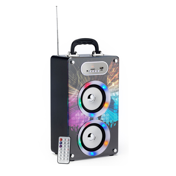 Steepletone Soundbox Portable Bluetooth Speaker with USB and SD Inputs Disco