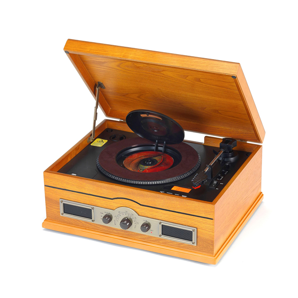 Steepletone Norfolk Retro Record and CD Player with MW, FM Radio, Aux and USB/ SD MP3 Encoding and Playback plus 2GB SD card Light Oak