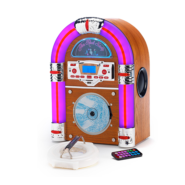 Steepletone Jive Rock Sixty Jukebox CD, Bluetooth, Radio and Aux Playback Light Wood