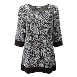 Lavitta Leaf Print Chainmail Top 30.5in