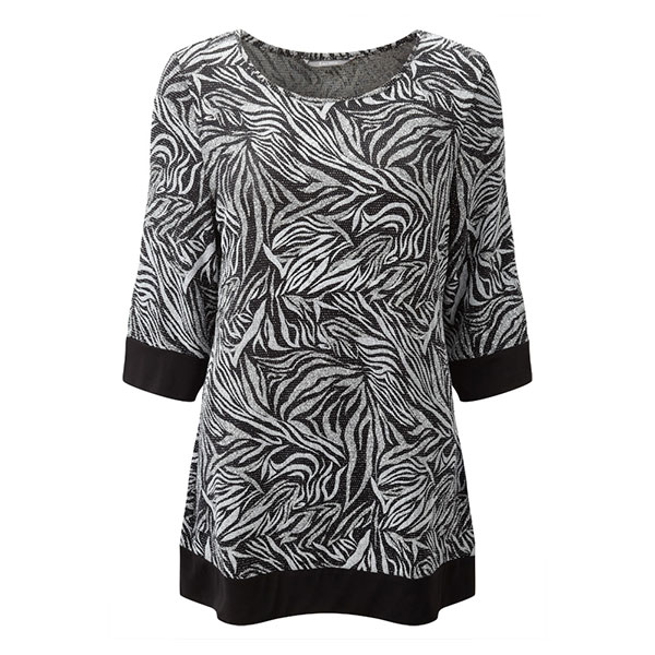 Lavitta Leaf Print Chainmail Top 30.5in Silver