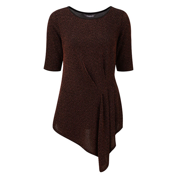Lavitta Chainmail Side Drape 1/2 Slv Top Cognac