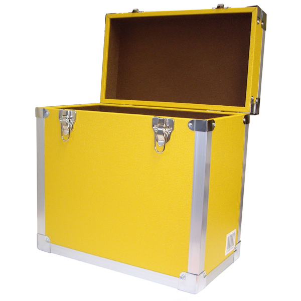 Steepletone SRB 2 12 Inch LP Vinyl Retro Style Record Storage Carry Case Yellow