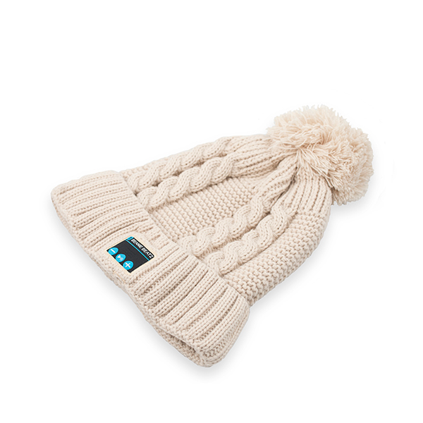 Beanie Beatz Bobble Hat with Inbuilt Headphones Beige