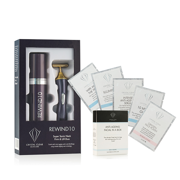 Crystal Clear Rewind 10 Neck Lift System (Wand and 60ml Moisturiser) plus free Anti Ageing Facial in a Box No Colour