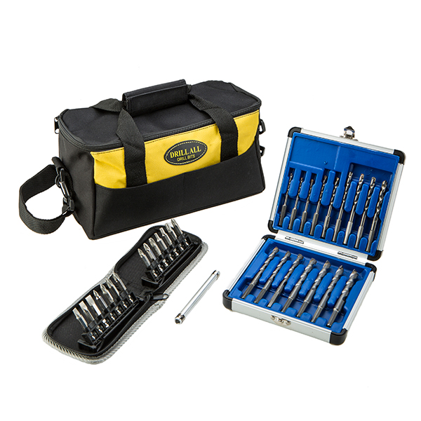 Drill All Drill Bits with Diamond Tipped Screwdriver Bits, Screw Tube and Tool Bag No Colour
