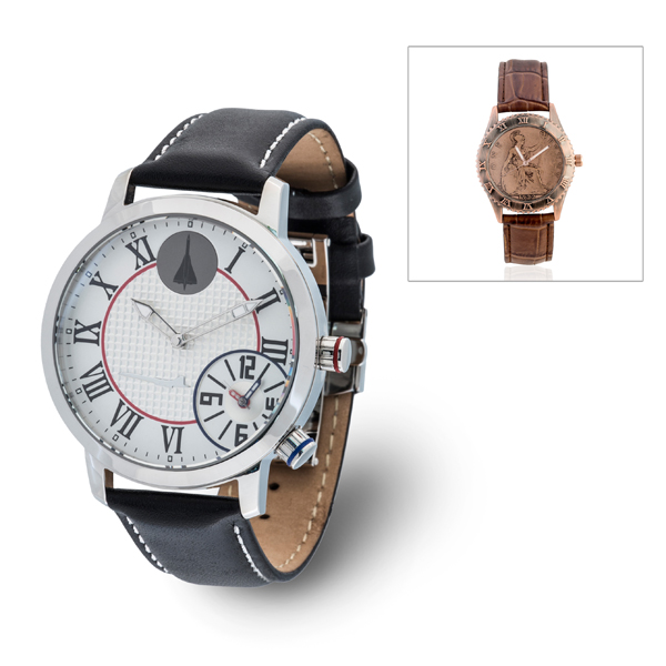 Concorde Limited Edition Dual Time Watch with Genuine Leather Strap and FREE Penny Watch Black