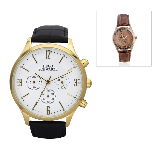 Hugo Schwarze Gents Cassius Chronograph Watch with Leather Buckle Strap and FREE Penny Watch 390683