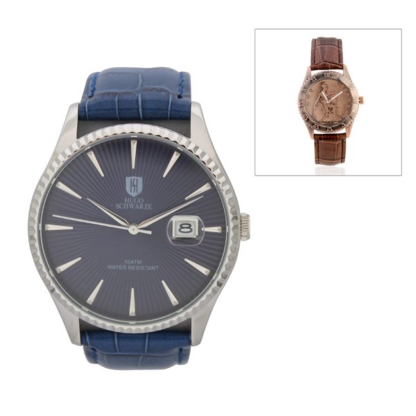 Hugo Schwarze Gent's Classic Watch with Leather Strap and FREE Penny Watch Blue