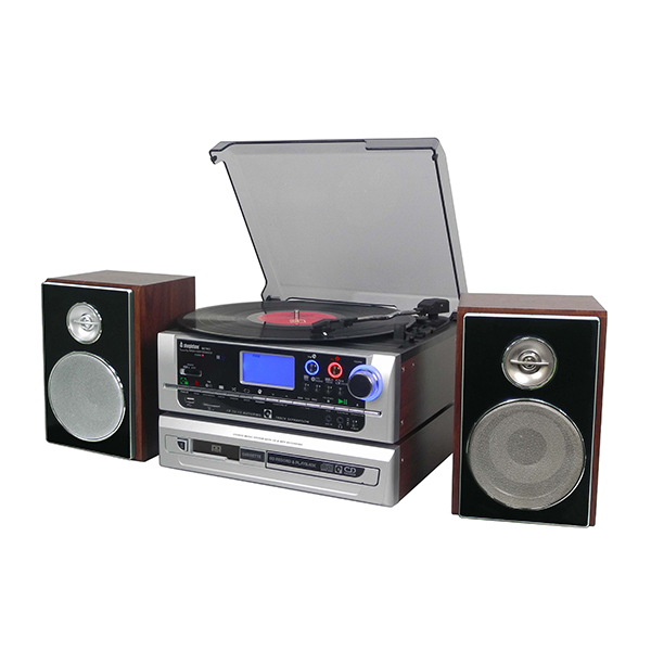 Steepletone Metro Modular Multi Function Music System with 3 Speed Turntable Radio Aux USB SD Cassette CD Player with 2 x 4GB SD & 1 x 4GB USB Dark Wood