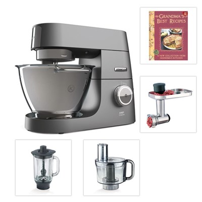 Kenwood Chef Titanium Kitchen Machine with 3 Attachments and Free Recipe Book