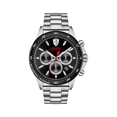 Scuderia Ferrari Gents Pilota Chronograph with Sunray Dial and Stainless Steel Bracelet