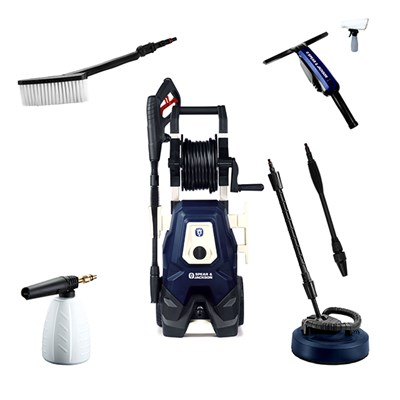 Spear and Jackson Premium 2000w Pressure Washer with Turbo Lance, Vario Lance, Patio Cleaner, Super Foamer, Wash Brush & Window Vac