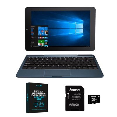 Venturer BravoWin S 10KR 2 in 1 mini laptop and Hama 32GB Class 10 Micro SD Card plus F Secure Safe Internet Security for 3 devices for 1 year